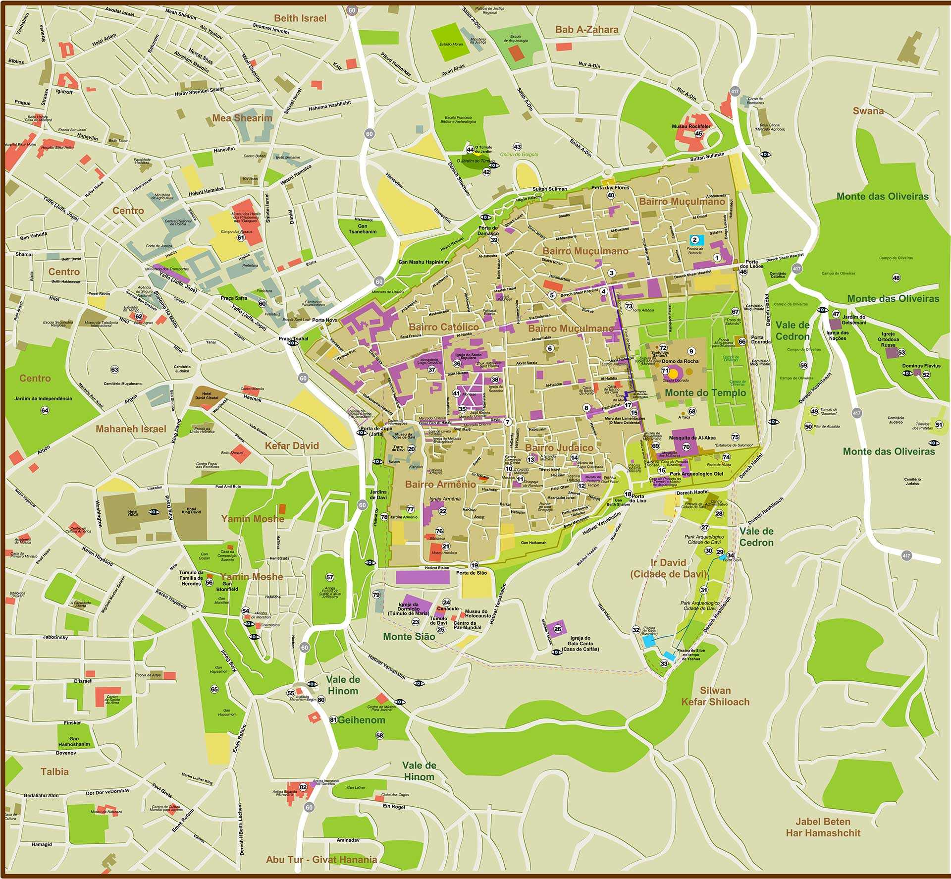 Grande Mapa De Jerusalem Para Impressao Noticias De Israel